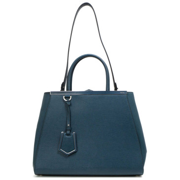 Fendi Teal Vitello Large 2Jours Tote