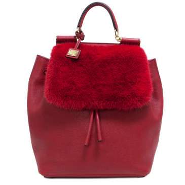 Dolce & Gabbana Red Calfskin & Mink  Sicily Backpack