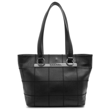 Chanel Black Caviar Square Stitch Tote
