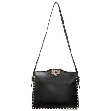 Valentino Black Vitello Rockstud Flip Lock Messenger Bag