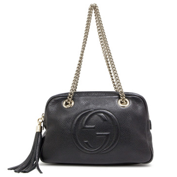 Gucci  Black Pebbled Calfskin Small Soho Chain Shoulder Bag