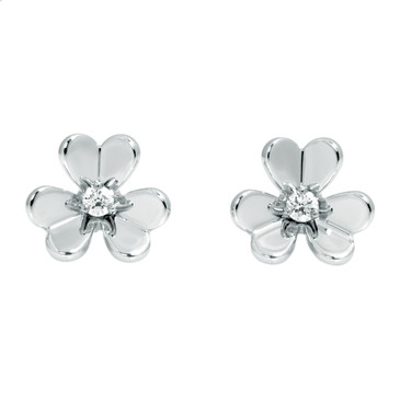 Van Cleef & Arpels 18K White Gold & Diamond Frivole Mini Earrings