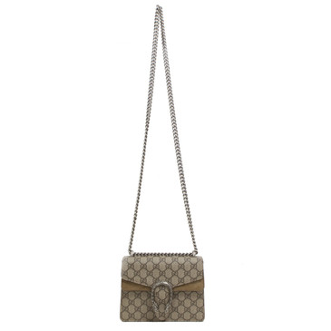 Gucci GG Supreme Monogram Canvas & Taupe Suede Mini Dionysus Bag