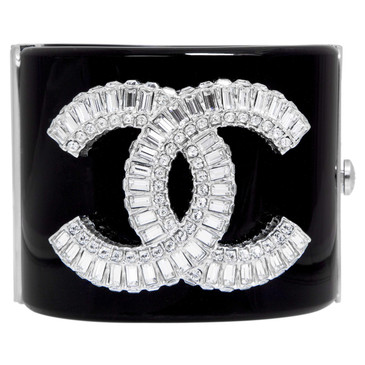 Chanel Black Resin Crystal CC Cuff Bracelet