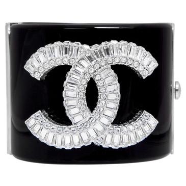 Chanel Black Resin Crystal CC Cuff Bracelet