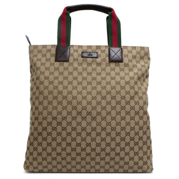 Gucci Brown Monogram Web Handle Large Tote