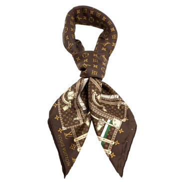 Louis Vuitton Silk Monogram Trunks Square Scarf