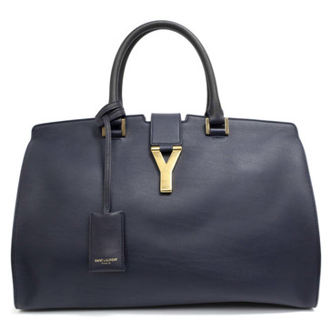 Saint Laurent Navy Calfskin Medium Classic Y Cabas