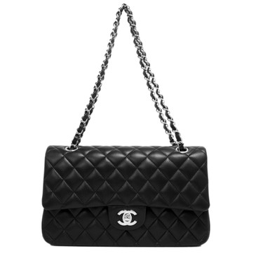 Chanel Black Quilted Lambskin Medium Classic Double Flap