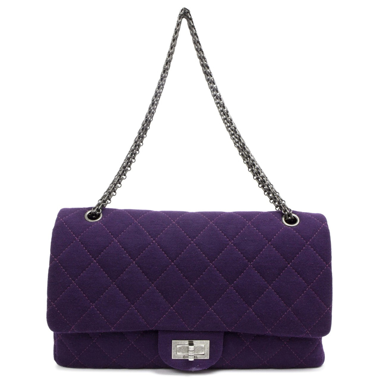 a672382295ffb2 Chanel Purple Jersey 2.55 Reissue Double Flap 227 - modaselle