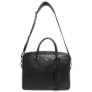 Prada Nero Saffiano Travel Briefcase  Bag