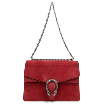 Gucci Red Suede Medium Dionysus Shoulder Bag