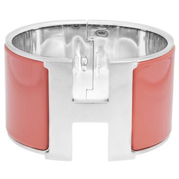 Hermes Rose Salmon Enamel Extra Wide Clic Clac Bracelet