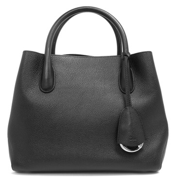 Christian Dior Black Grained Calfskin Small Open Bar Tote