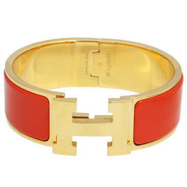 Hermes Orange Enamel Wide Clic Clac Bracelet