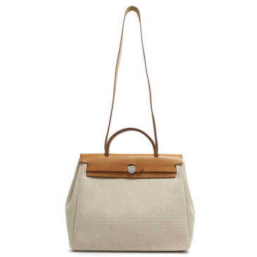 Hermes Beige Canvas Herbag 30 PM