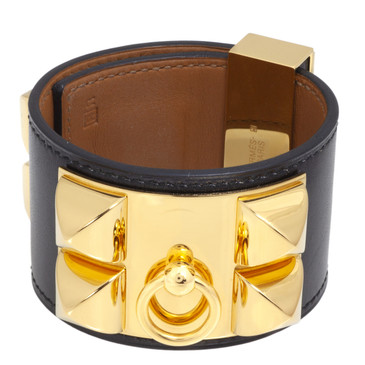 Hermes Black Box Calfskin Collier de Chien CDC  Bracelet