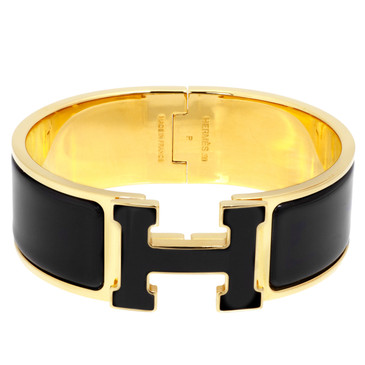 Hermes Black Enamel Wide Clic Clac  Bracelet