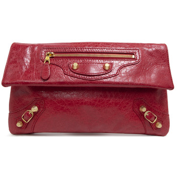 Balenciaga Red Lambskin Giant 12 Envelope Clutch
