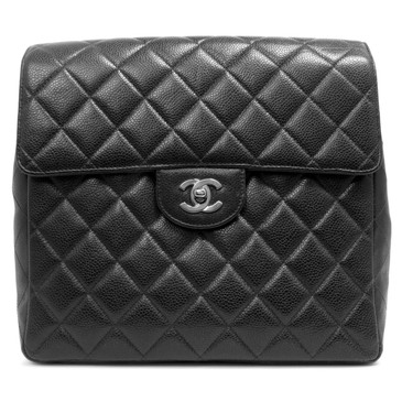 Chanel Black Caviar Vintage Square Flap Backpack