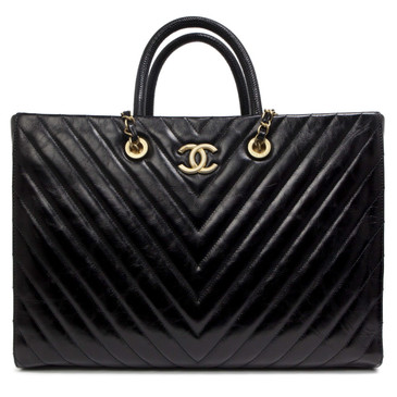 Chanel Black Lizard Handle & Aged Calfskin Large Shopping Tote