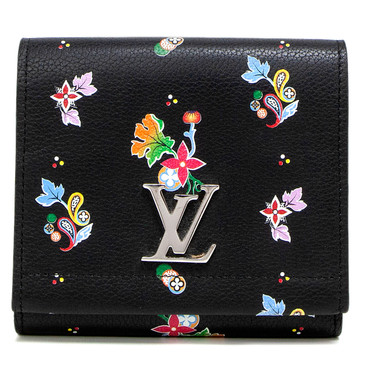 Louis Vuitton Noir Calfskin Lockme II Flower Compact Wallet