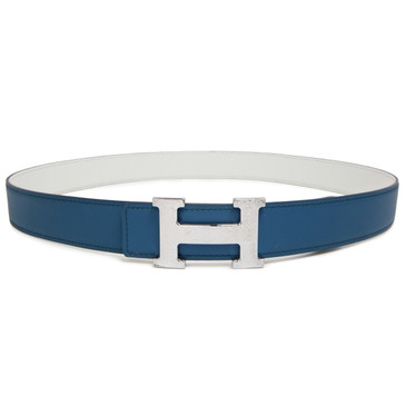Hermes Blue & White Epsom/Swift Hammered 'H' Belt Buckle 32mm Reversible Belt