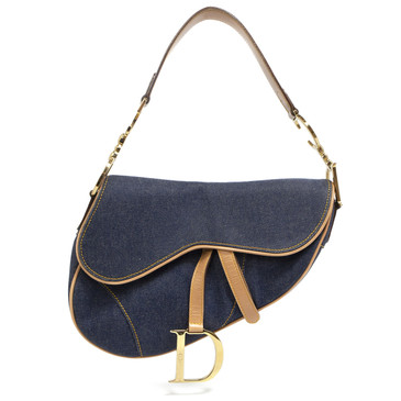 Christian Dior Blue Denim Saddle Bag