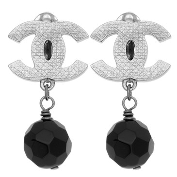 Chanel Black Bead CC Drop Clip On Earrings