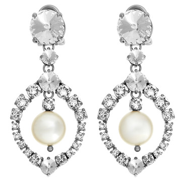 Miu Miu Crystal/Pearl Clip On Earrings