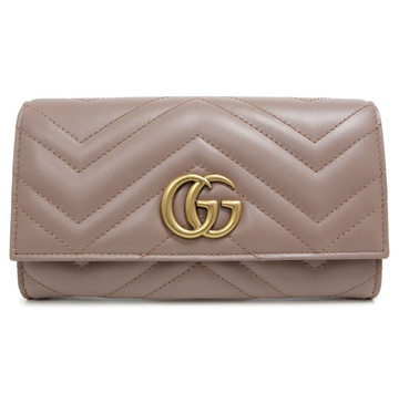 Gucci Nude Calfskin Marmont Continental Wallet
