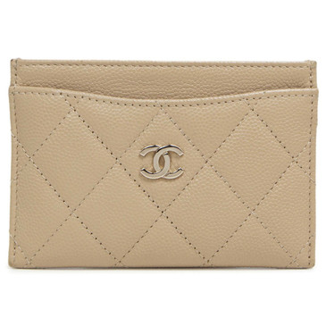 Chanel Beige Caviar Quilted Card Holder