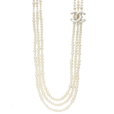 Chanel CC Triple Strand Pearl Necklace