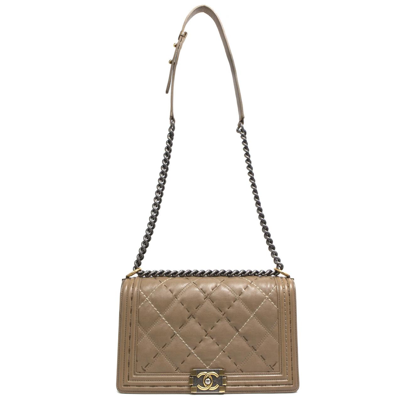 4c137a952eae Chanel Dark Beige Calfskin New Medium Double Stitch Boy Bag - modaselle