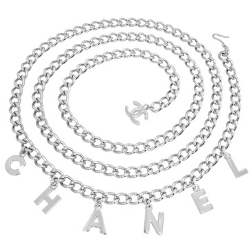Chanel Silver Tone CC Chain Letters Belt