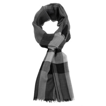 Burberry Black/Grey Lightweight Check Linen Scarf
