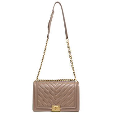 Chanel Beige Calfskin Chevron New Medium Boy Bag