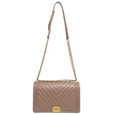 Chanel Beige Calfskin Chevron New Medium Boy Bag