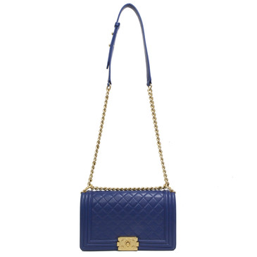 Chanel Blue Lambskin Medium Boy Bag
