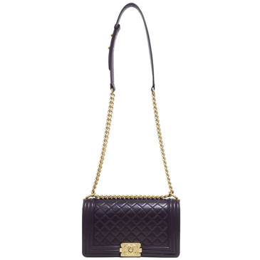 Chanel Purple Calfskin Medium Boy Bag
