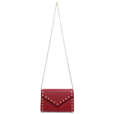 Valentino Red Rockstud Envelope Wallet with Chain