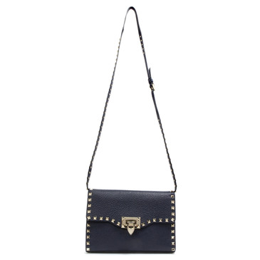 Valentino Navy Small Rockstud Crossbody Bag