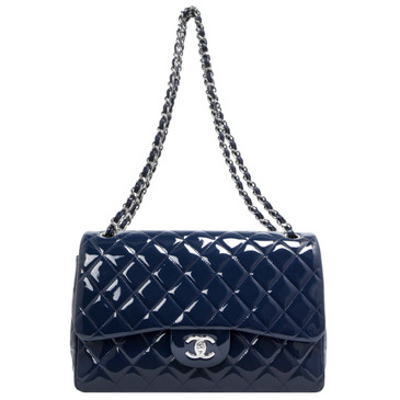 Chanel Blue Quilted Patent Leather Jumbo Classic Double Flap