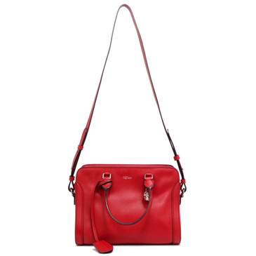 Alexander McQueen Red Calfskin Skull Padlock Zip Around  Tote