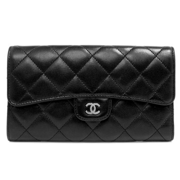 Chanel Black Quilted Lambskin Large Classic Flap  Wallet