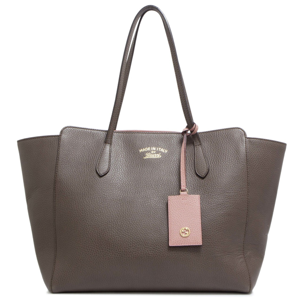 a026f1bfd348 Gucci Taupe Pink Pebbled Calfskin Medium Swing Tote - modaselle