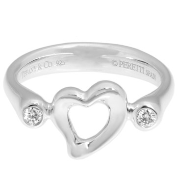 Tiffany & Co. Sterling Silver & Diamond Elsa Peretti Open Heart Ring