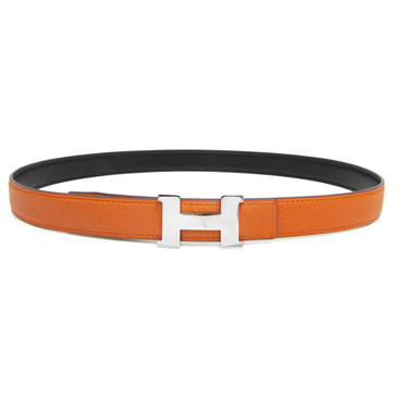 Hermes Orange & Black Togo/Box Mini Constance 24mm Reversible Belt