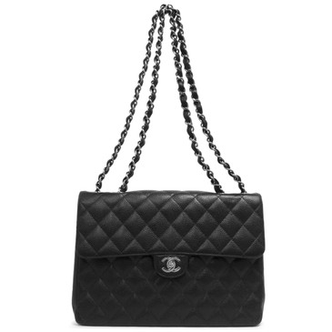 Chanel Black Caviar Jumbo Single Flap