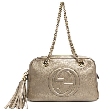 Gucci Gold Pebbled Calfskin Small Soho Chain Shoulder Bag
